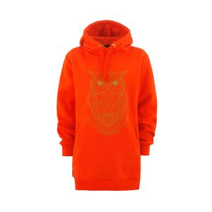 Owl Lady Tall Hoodie orange