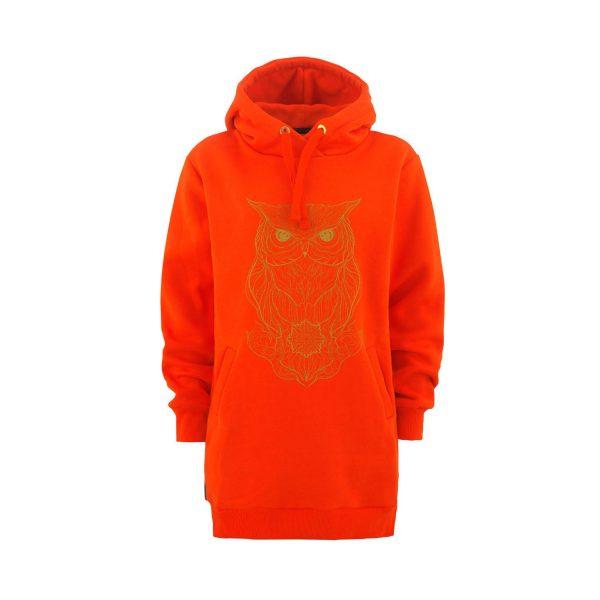 Owl Lady Tall Hoodie orange